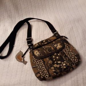 Fossil Floral Canvas bag w/ leather trim Organize
